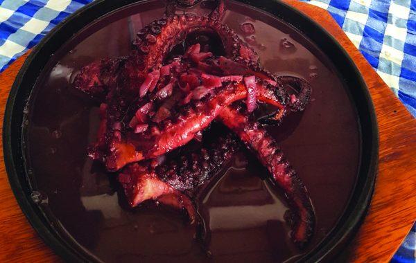 Caracatita cu sos de vin rosu